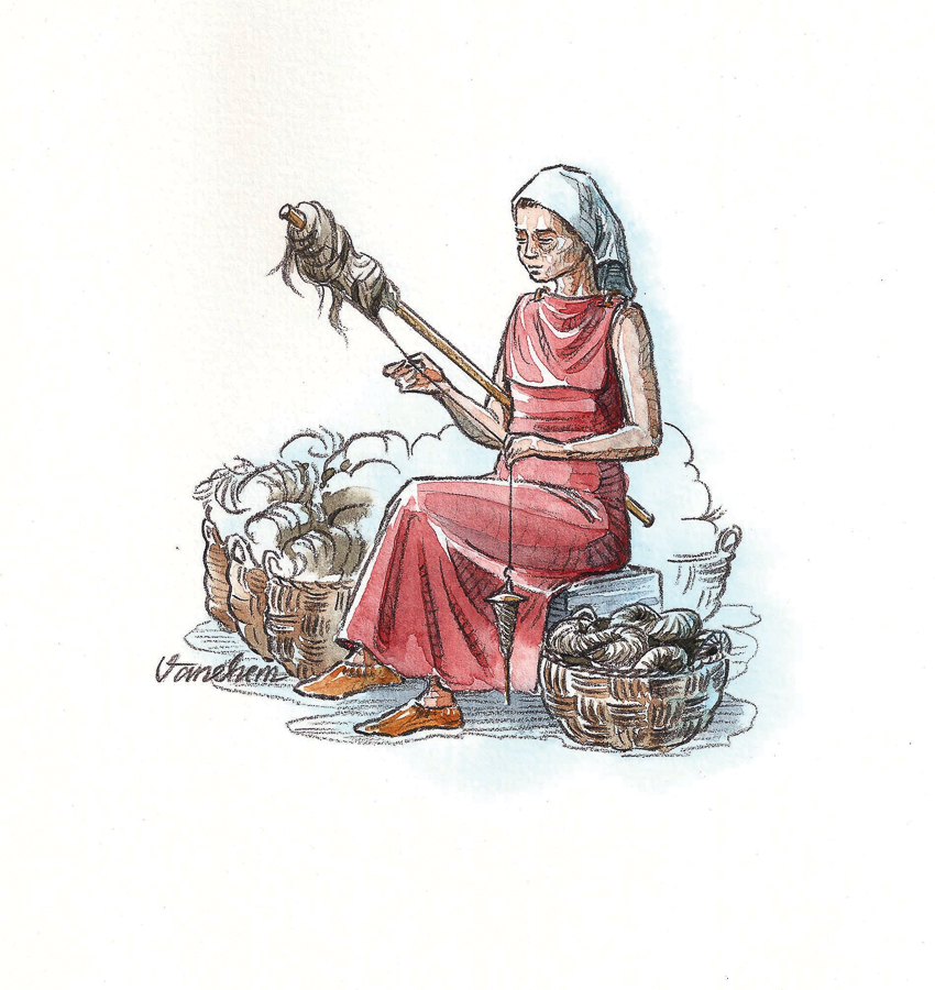 Iron age wool thread spinning Halvardsborg