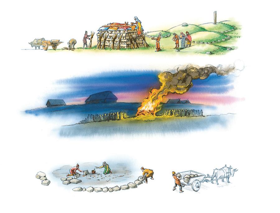 Iron Age funeral, cremation procedure (Client: Bonnier Carlsen Publishing House).