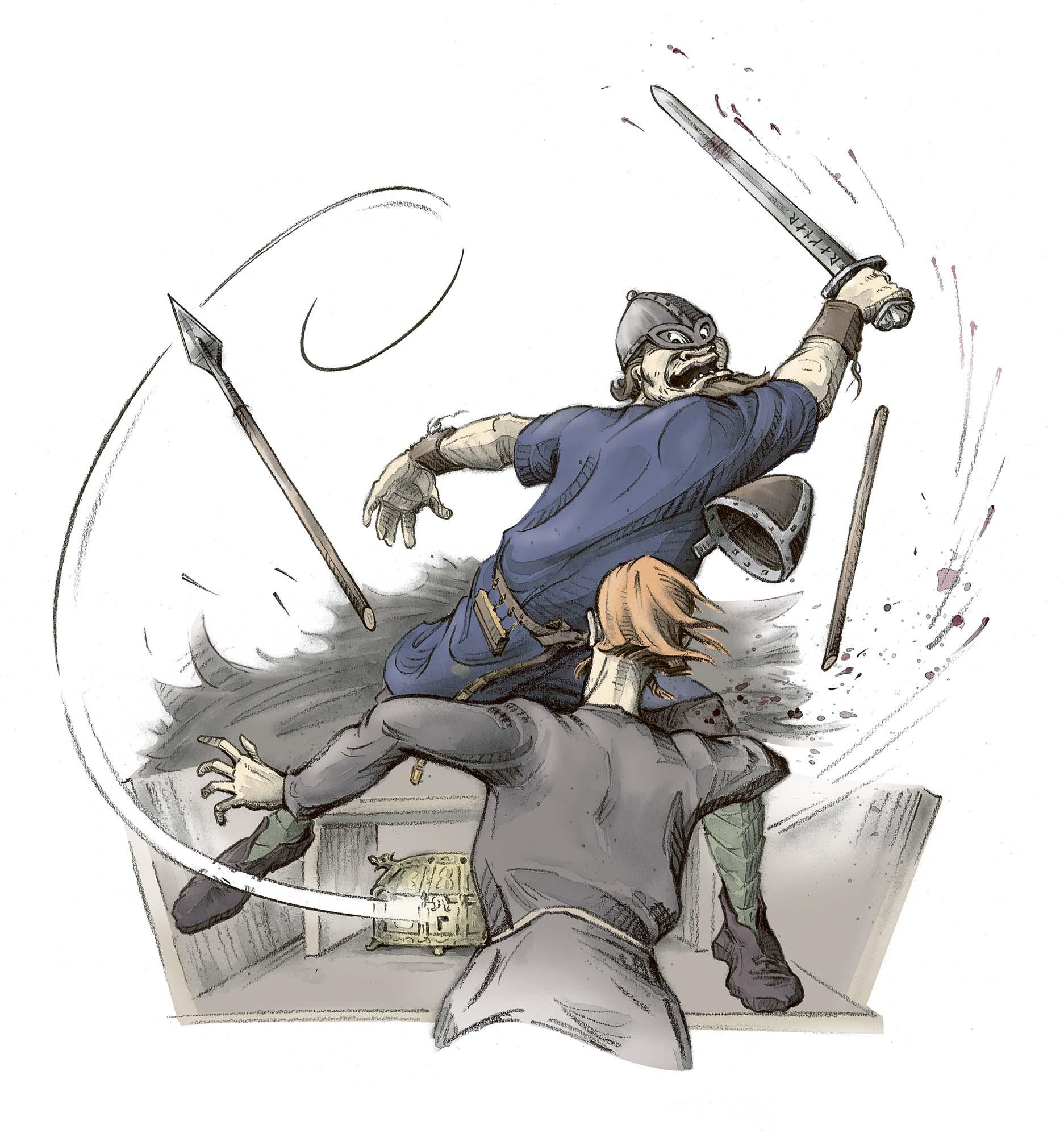 The Chieftain's Cup: Ragnar disarms the guard (Client: Bonnier Carlsen Publishing House, Sweden).
