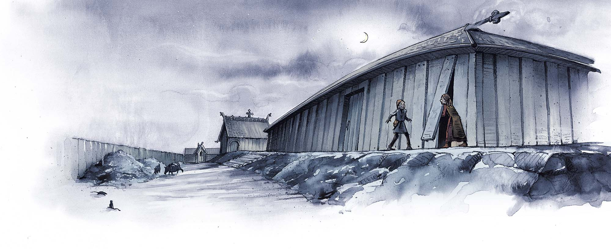 The Chieftain's Cup: Longhouse night scene (Client: Bonnier Carlsen Publishing House, Sweden).