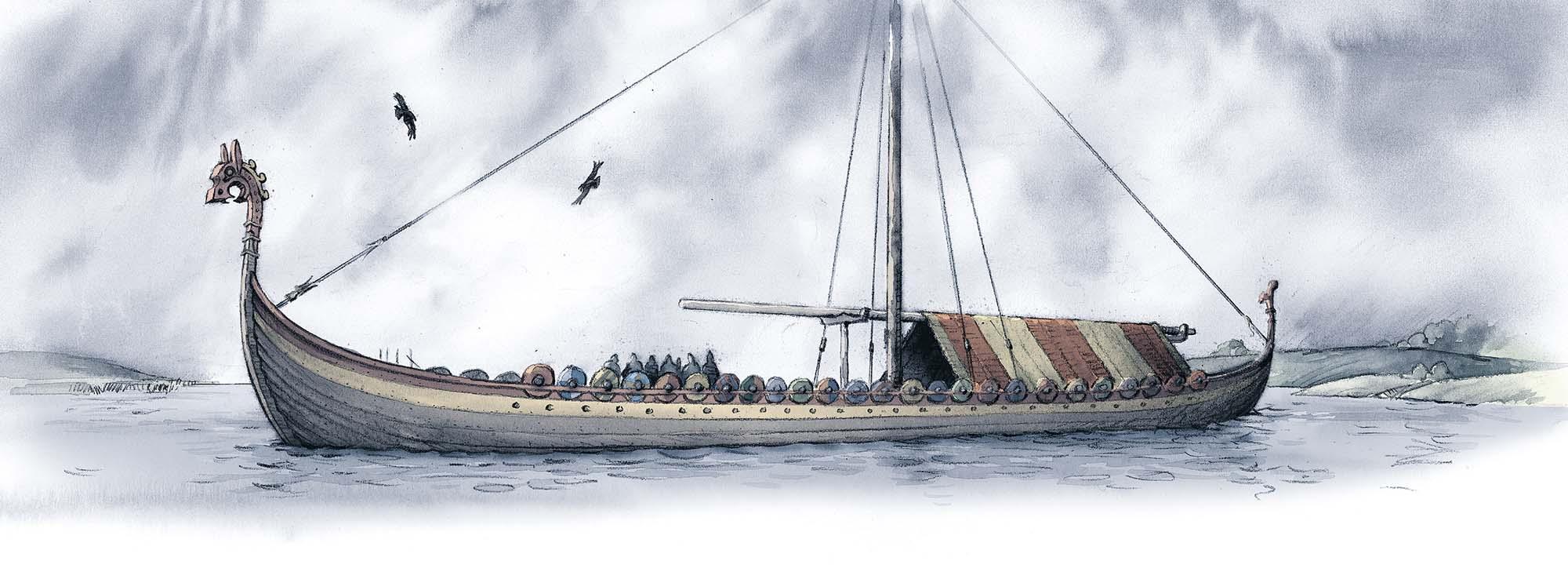 The Stranger's Grave: Asta's viking ship (Client: Bonnier Carlsen Publishing House, Sweden).