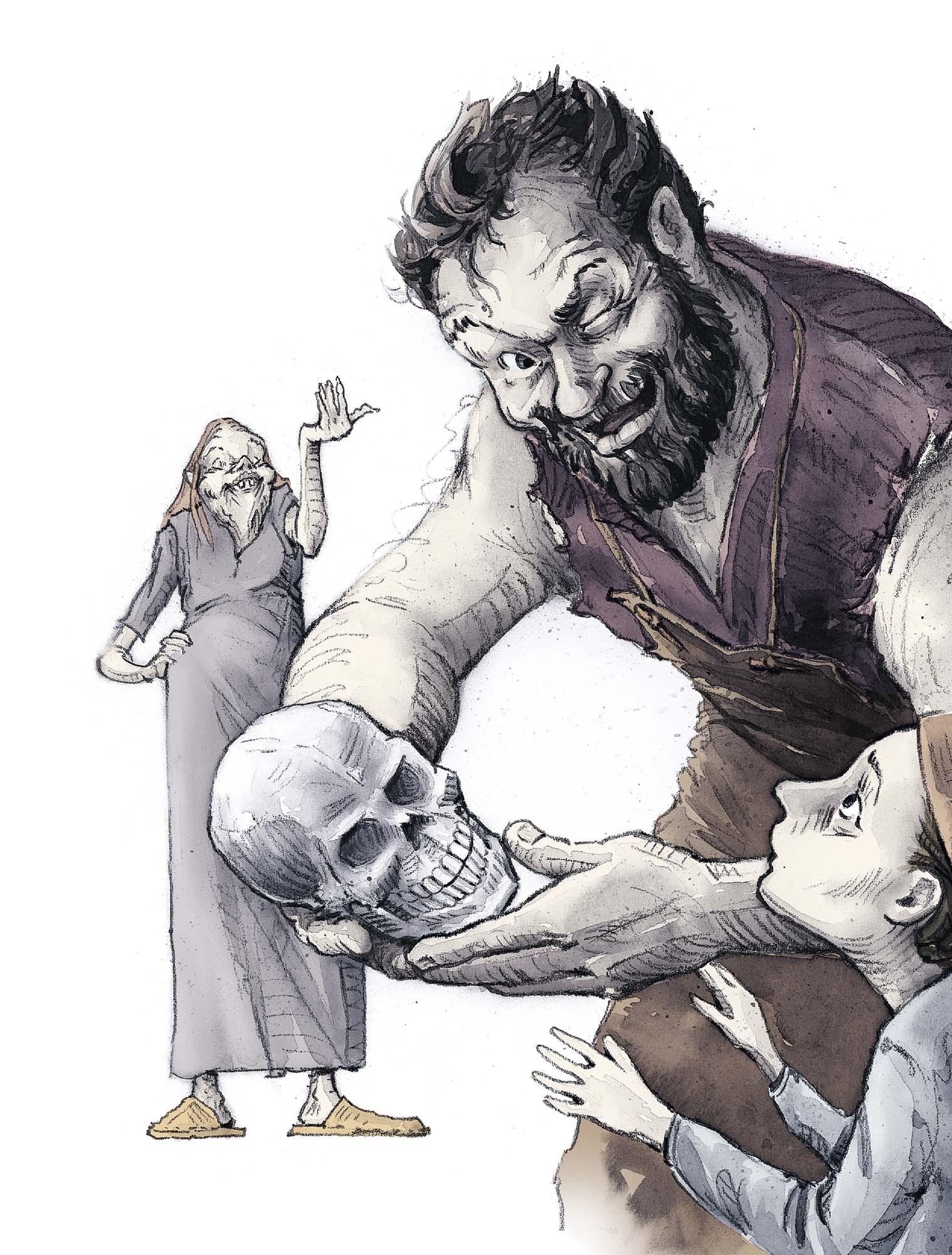 The Stranger's Grave: Bjorn's skull trick (Client: Bonnier Carlsen Publishing House, Sweden).