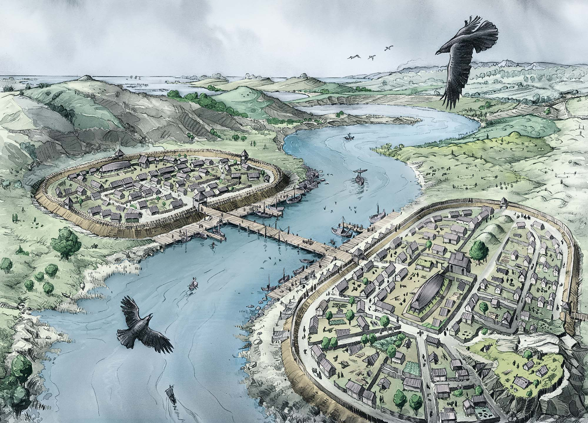Halvdan_the_Viking: Western and Eastern Villages (Client: Bonnier Carlsen Publishing House, Sweden).