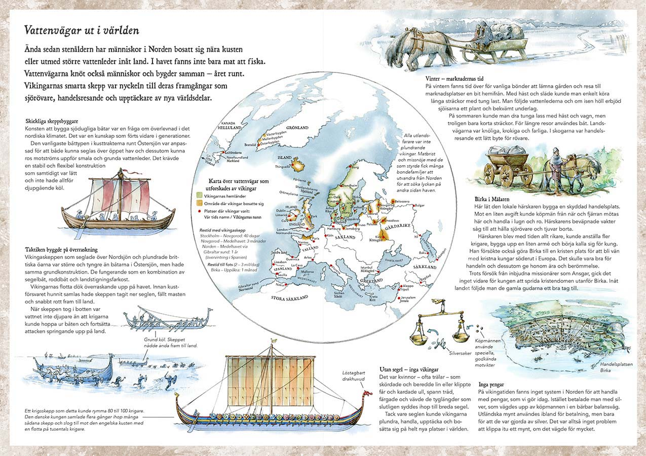 Halvdan & Meia, Learn more about: Viking Age waterways (Client: Bonnier Carlsen Publishing House, Sweden).