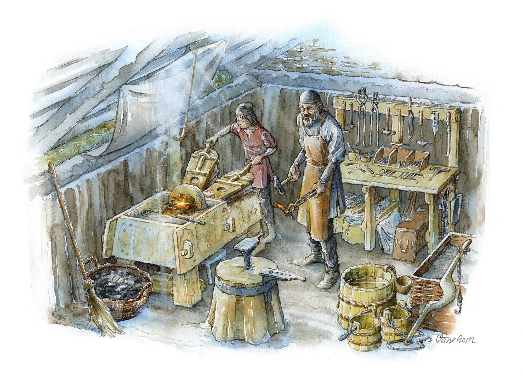 Blacksmith's workshop in Iron Age Uppakra, Sweden (Client: Uppåkra Arkeologiskt Center)