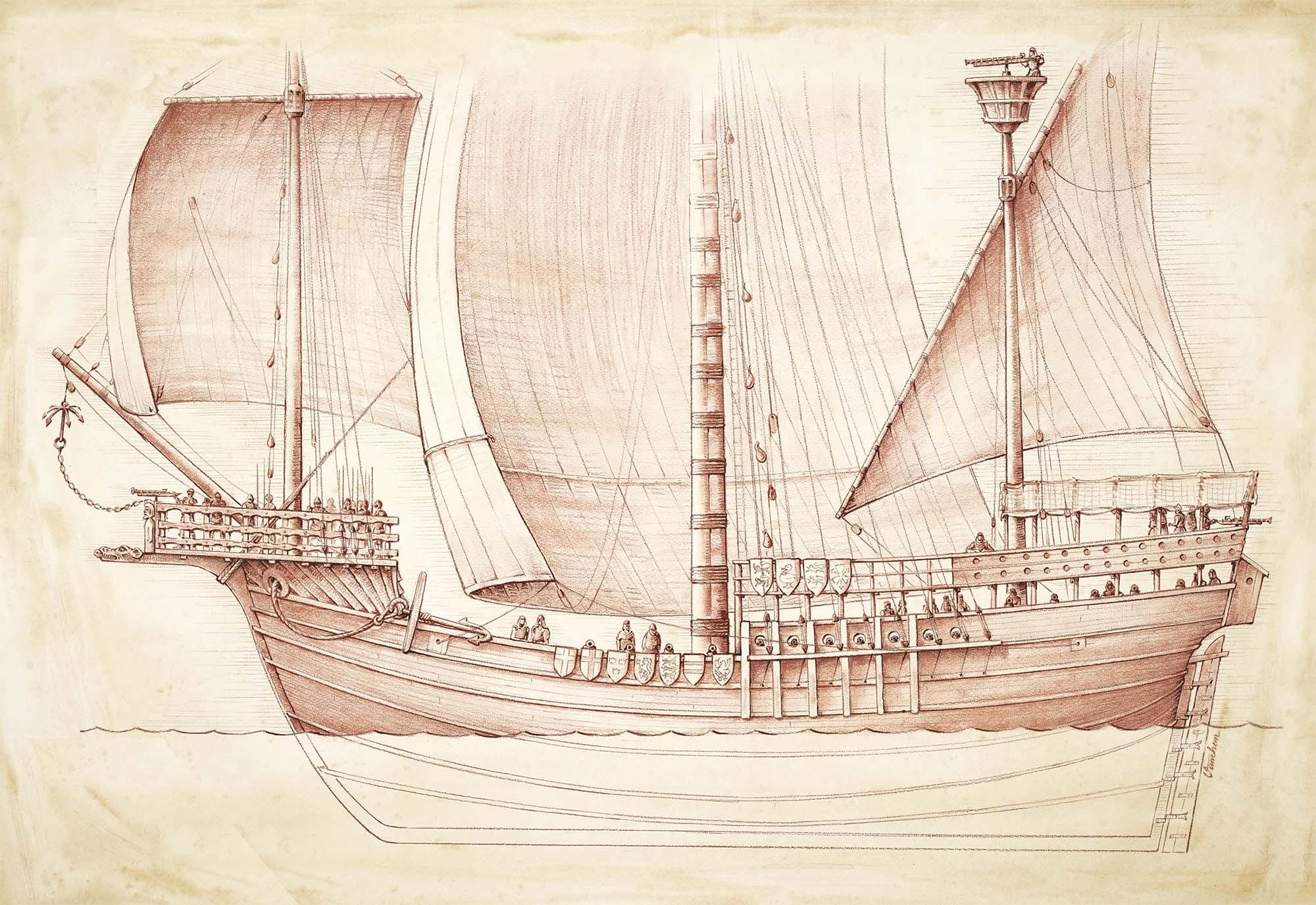 "The Danish ship ""Gribshunden"", anno 1495 (Client: ""Kallvattenkuren"" project exhibition, Ronneby Municipality, Sweden)."