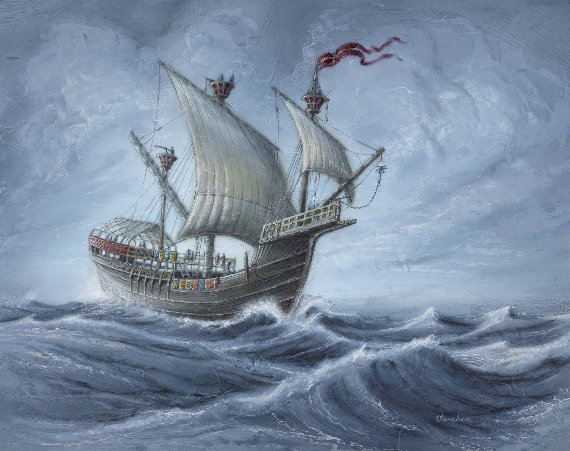 "Reconstruction of  the Danish ship ""Gribshunden"", anno 1495 (Client: ""Kallvattenkuren"" project exhibition, Ronneby Municipality, Sweden)."