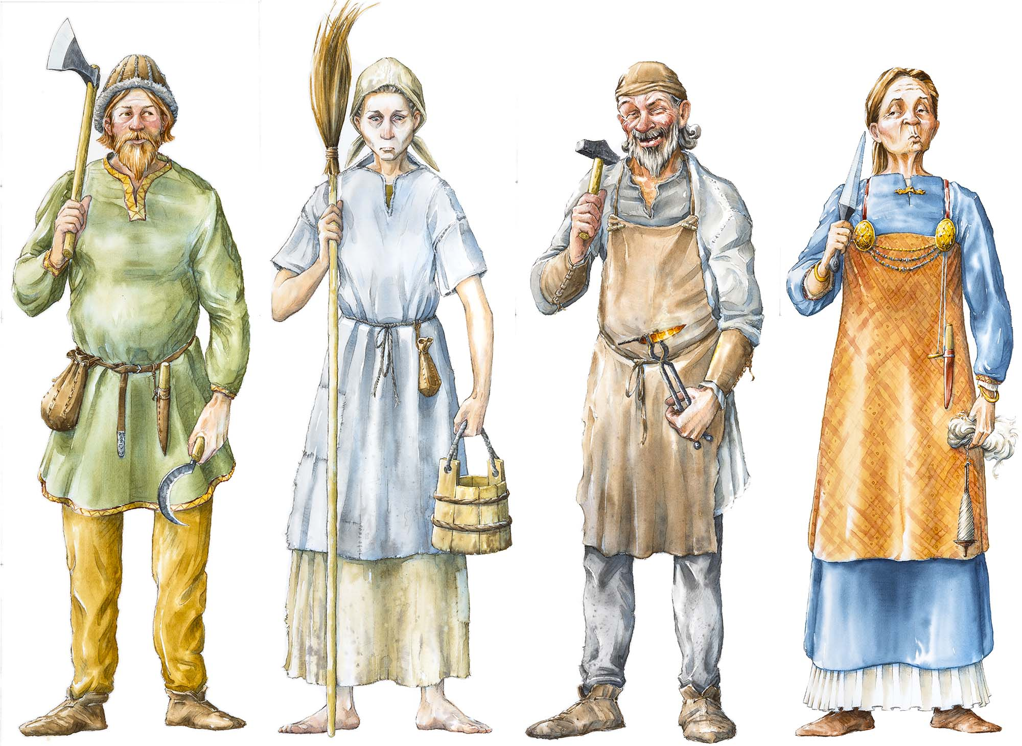"""Characters for an """"patch-and-match"""" exhibition game (Client: Aust Agder Museum og Arkiv in Arendal, Norway)."""