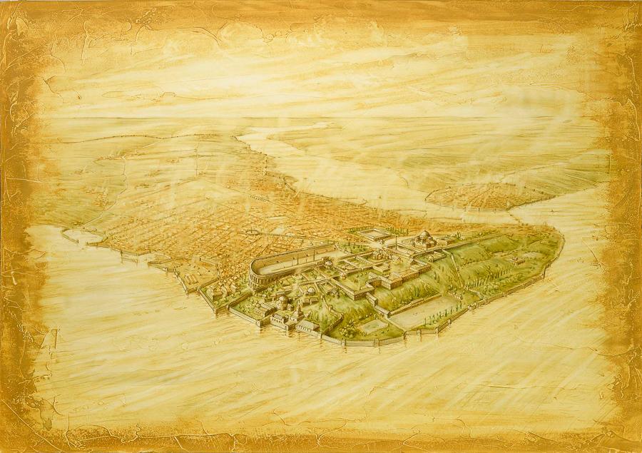 "Darkride backdrop illustration, ""Miklagard"" (Client: The Viking Museum)."
