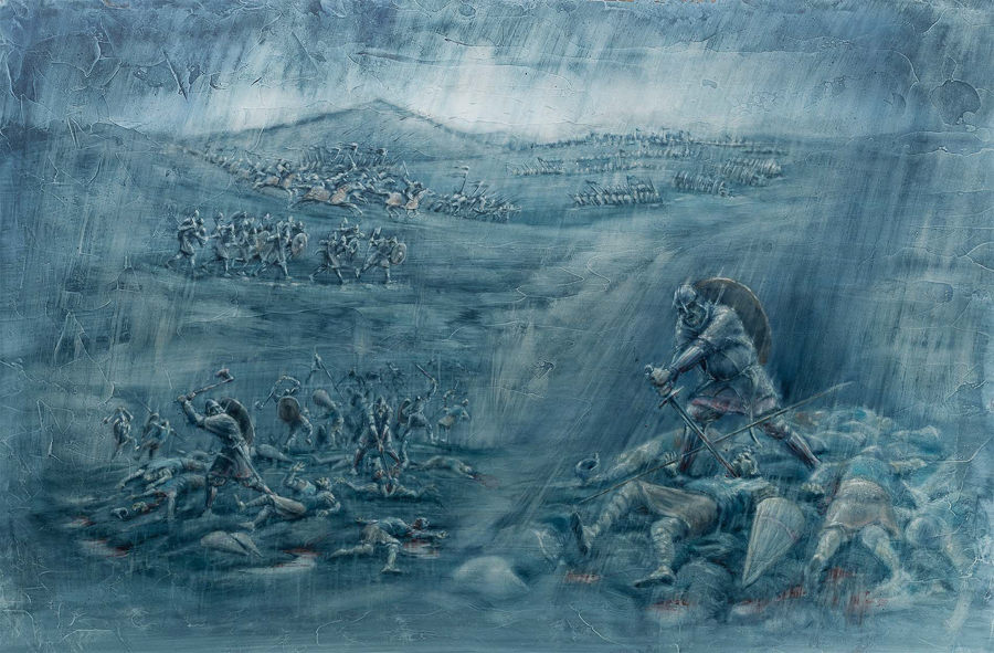 "Darkride backdrop illustration, ""Battle scene"" (Client: The Viking Museum)."