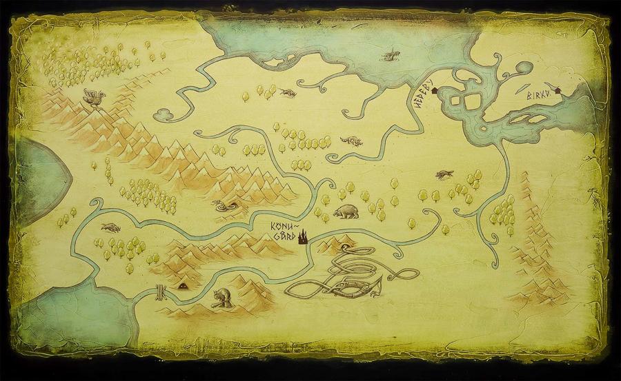 "Darkride backdrop illustration ""Returning home North"" (Client: The Viking Museum)."