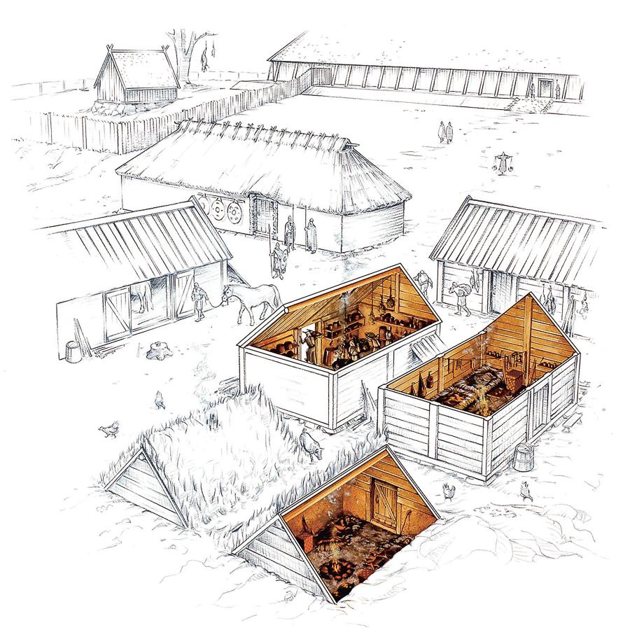 Viking Age farmhouses (Client: Bonnier Carlsen Publishing House, Sweden).